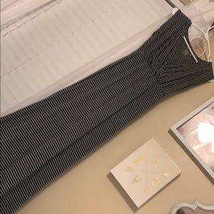 Black and grey striped maxi dress